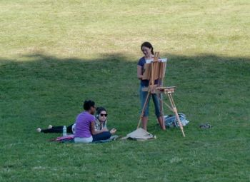 Artist on lawn 9-02